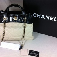 100% AUTHENTIC CLASSIC CHANEL QUILTED IN THE MIX TOTE CHAIN SHOULDER BAG PURSE