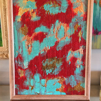 Abstract Painting, Impasto Painting, Original Art, Red Wall Art, Aqua Wall Art, Gold Leaf Wall Art, Copper Painting, Bronze Painting, 18x24