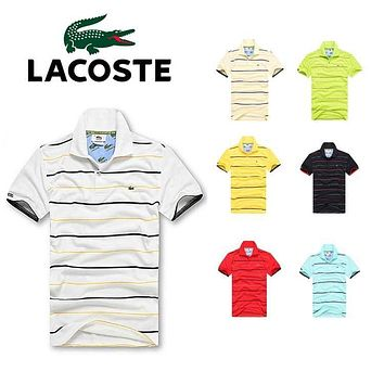 hot sale lacoste men stripe polo shirt 100 cotton top