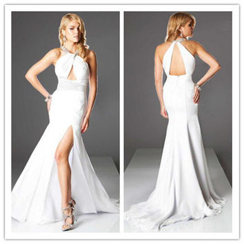White Long Mermaid Prom Dress Beautiful Robe De Soiree Long Vestidos Formales Chiffon Sexy Backless Halter Evening Gowns