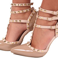 Polished Nude Pump with Tan Studded Straps