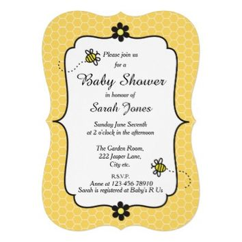Cute Bumble Bees Baby Shower Invitation