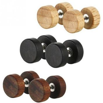 Fashion Gothic Punk Wood Stud Earrings Barbell Double Side Round Earrings For Women Men