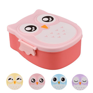 food container Owl Portable Bento Lunch Box Plastic Cute Cartoon Food Fruit Storage Container Oct17