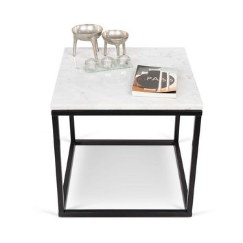 Prairie 20X20 Marble End Table White Marble Top/Black Lacquered Steel Legs