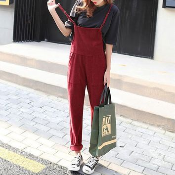 Simple Casual Solid Color High Waist Back Strap Trousers Corduroy Romper Jumpsuit Wide Leg Pants
