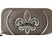 Miss Me Zip Around Wallet Gray