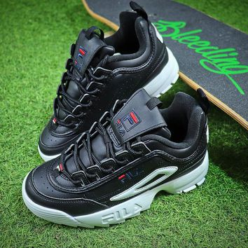 FILA Disruptor II 2 All Black White Shoes FW0165-038 - Best Online Sale