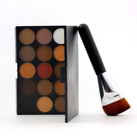 1set Professional 15 Color Warm Eyeshadow Makeup Cosmetics Eye Shadow Palette Flat Brush