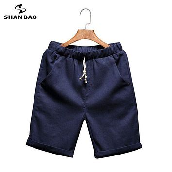 SHAN BAO Brand clothing Men's cotton linen shorts 2017 Summer thin breathable beach shorts Beads Designer 6 colors M to 5XL