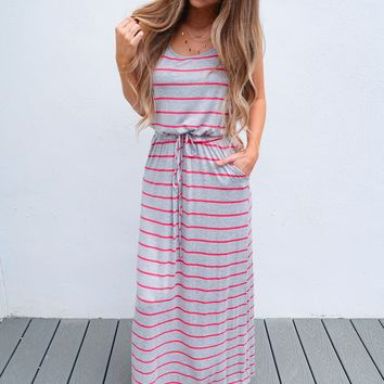 Joyful Heart Maxi: Coral/Grey