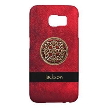 Personalize Red Leather Celtic Knot Galaxy S6 Case