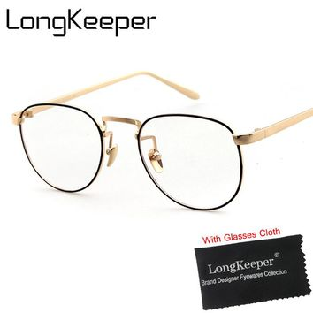 LongKeeper Vintage Eyeglasses Frame Women Men Computer Optical Eye Glasses Spectacle For Women's Transparent Clear Lens Female