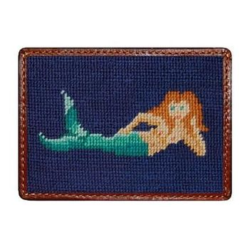 Mermaid Needlepoint Credit Card Wallet in Navy by Smathers & Branson