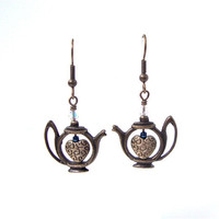 Teapot earrings - teapot and heart earrings - teatime - teapot collectors -  antiqued bronze earrings by Sparkle City Jewelry