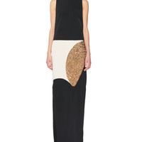 TOM FORD Sleeveless Colorblock Column Gown, Black