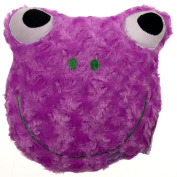 "Purple Frog Pillow Color LED Light Up Flash Plush 9"" Microbeads Home Bed Decor"