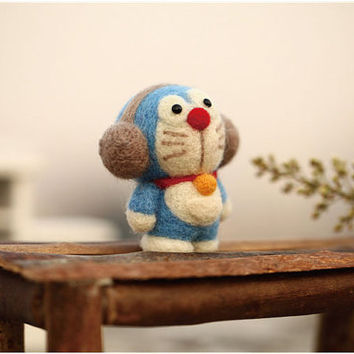 DIY Kit - Doraemon Needle Felting Kit - Universal cat Craft Kit