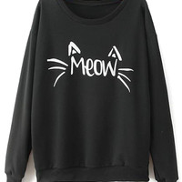 Black Letter And Cat Print Long Sleeve Sweatshirt