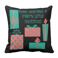 Have yourself a merry little Christmas, teal/coral Throw Pillows