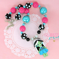Monster high necklace, Frankie Stein necklace, Monster high chunky necklace, Girls Monster high