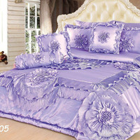 Tache 6 Piece Fancy Floral Faux Satin Sateen Solid Purple Lavender Field Comforter Quilt Set (BM-9605)