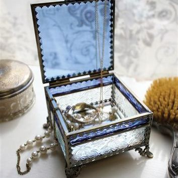 Blue Skies Footed Jewelry Box |Blue Glass Jewelry Box, Patterned Glass Box