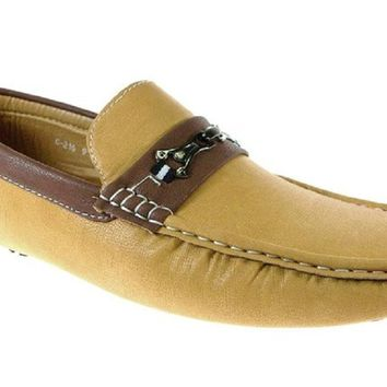 Mens Rocus Moccasin Two Tone Driver Loafers Shoes C-216  Tan