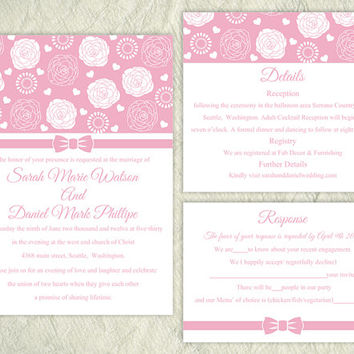 Printable Wedding Invitation Suite Printable Invitation Pink Wedding Invitation Flower Rose Invitation Download Invitation Edited jpeg file