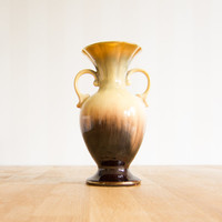 Vintage Carstens West German Vase Yellow Gold Brown Art Pottery