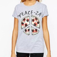 Gray Pizza Print T-Shirt