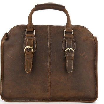 BLUESEBE MEN HANDMADE VINTAGE LEATHER SATCHEL/MESSENGER BAG 3857
