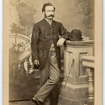 CDV Carte de Visite Photo Victorian Handsome Mustached Man, Derby Hat & Cane Portrait - Joseph Jacklett of Aldershot Hampshire - Antique
