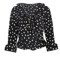 FREE SHIPPING Spring vacation style flounces printed chiffon mid-sleeve shirt and shirt