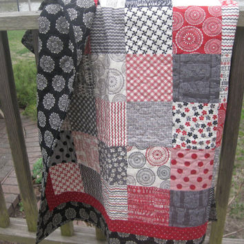 "Lap throw patchwork quilt red black gray white beige in ""Mama Said Sew"" fabrics wheelchair sofa couch bed accent quilt"