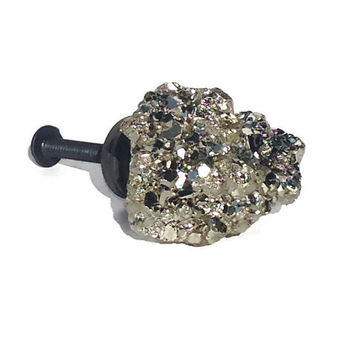 Gold Pyrite Knob/ Gold Drawer Pull/ Large Knob