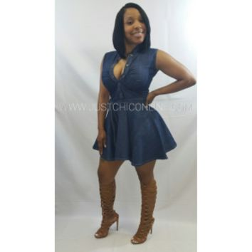 Short Sleeve Dark Denim Skater Dress - Just Chic Boutique