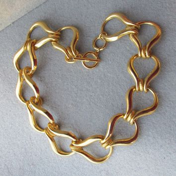 Vintage 1980's BIG Wide Gold Tone Chain Link Toggle Necklace