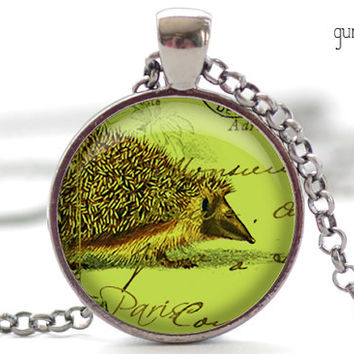 Green Hedgehog Necklace, Tender Shoots Hedgie Art Pendant, Parisian Porcupine Charm, Hedgehog Jewelry (222)