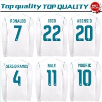 New Real Madrid home white Long Sleeve Soccer Jersey 17/18 Real Madrid soccer shirt 20
