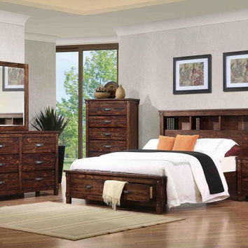 5 pc Nashville collection rustic oak finish wood queen bed set with storage headboard