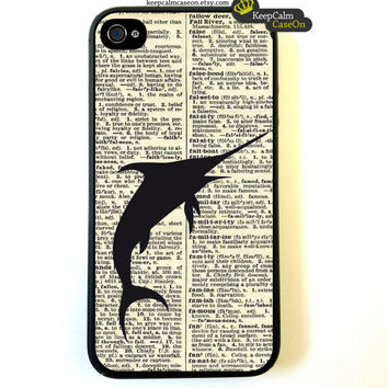 Iphone 4 Case Nautical Swordfish On Dictionary by KeepCalmCaseOn