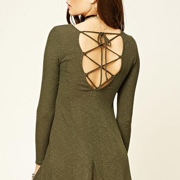 Ribbed Strappy-Back Dress