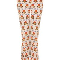 Flower Print Flares - Pale Pink