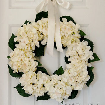 Cream Blush Hydrangea Wreath, Front Door Wreath, Spring Wreath, Summer Wreath, Wedding Wreath, Pastel Wreath