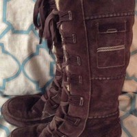 Timberland Tall Dark Brown fur lined soft leather Women's Winter Boots 9.5