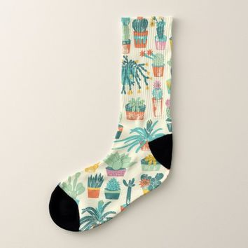 Colorful Cactus Flower Pattern Socks