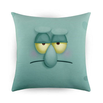 Funny Face Squidward, Pillow Cases, Covers, Decorative Pillow Case