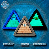 EyeGloArts GLOW in the dark jewelry Illuminati all seeing eye pyramid pendant in green and gold clubwear blacklight Psytrance rave candy