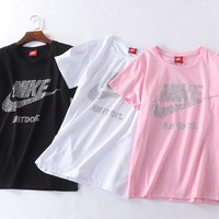 DCCK Nike hot style hot drill collar versatile T-shirt